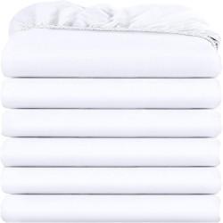 6бр памучни чаршафи с ластик в бяло