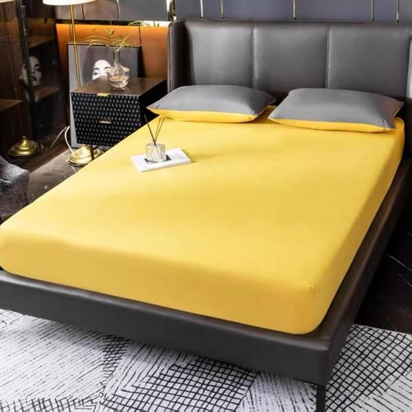 Жълт долен чаршаф с ластик Ранфорс