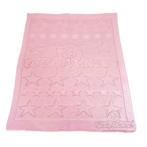 Плетено одеяло бебешко в розово