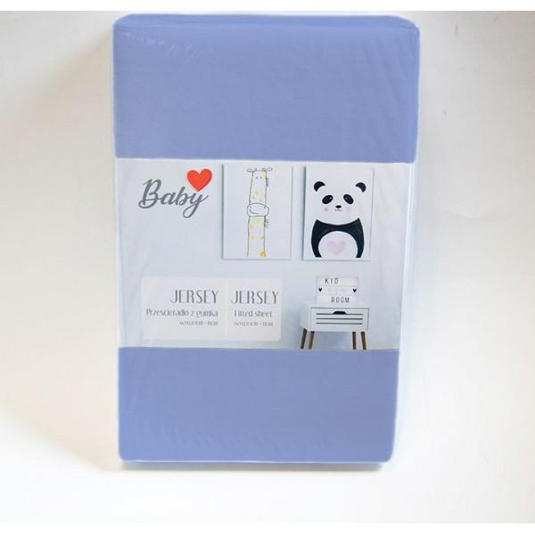 Чаршаф с ластик 60/120 синьо за бебе