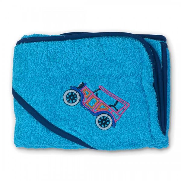 Бебешка хавлийка с качулка Ретро синьо