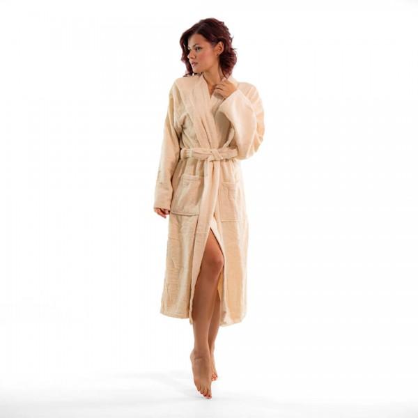 Хавлиен халат с качулка Style бежово