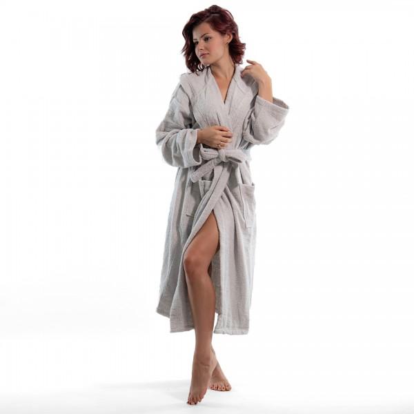 Хавлиен халат с качулка Style сиво
