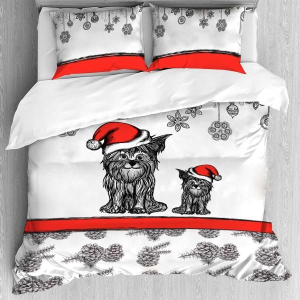 Коледно спално бельо Кученце за спалня
