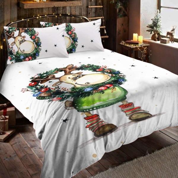 Коледно спално бельо Еленче за единично легло