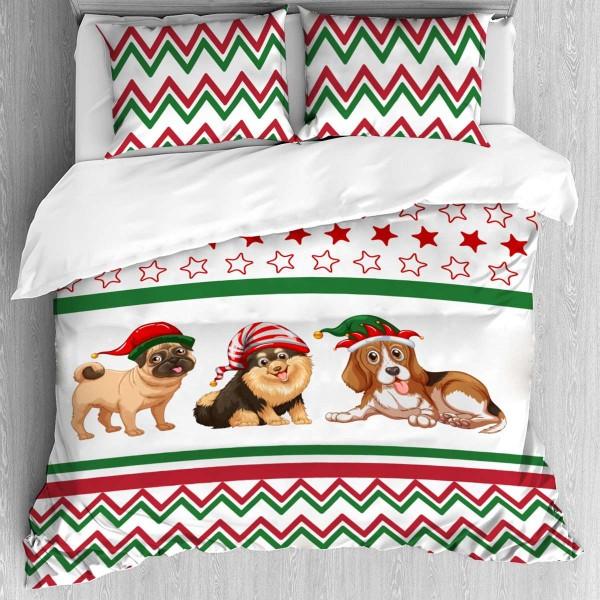 Коледно спално бельо Кученце за единично легло
