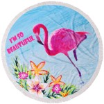 Кръгла плажна кърпа Фламинго