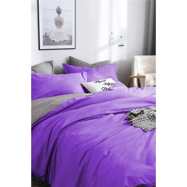 Двулицево спално бельо Лилаво и Сиво