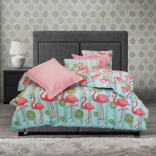 Забавно спално бельо Фламинго ранфорс
