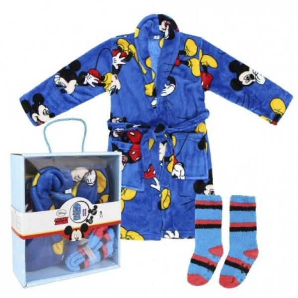Детски халат и чорапи Мики Маус подаръчен сет