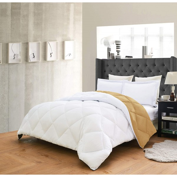 Олекотено спално бельо Бяло и Златно
