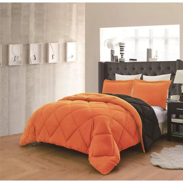 Олекотено спално бельо Оранжево и Черно