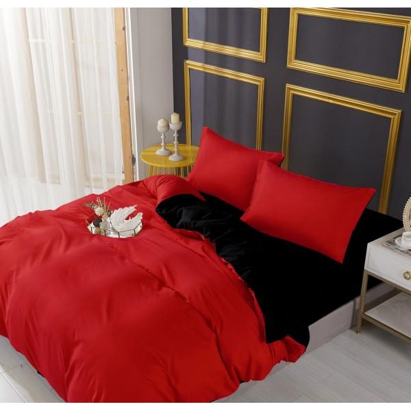Спално бельо Черно Червено двулицево