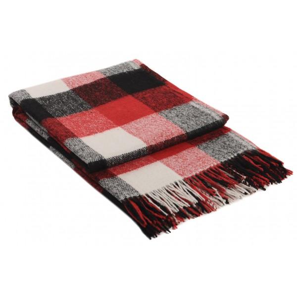 Вълнено одеяло на карета черно и червено
