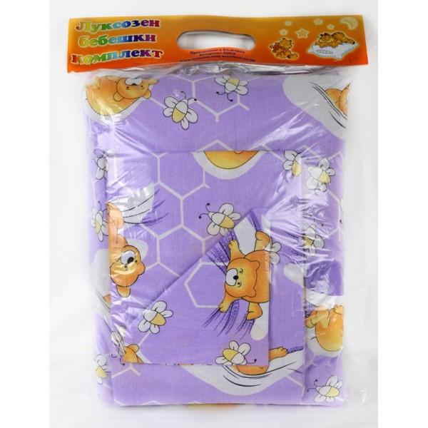 100% Памук Бебешки спален комплект Лилаво Мече