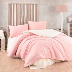 Спално бельо сатениран ранфорс Крем и Розово