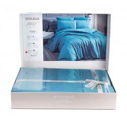 Луксозно спално бельо бамбук сатен Морско Синьо