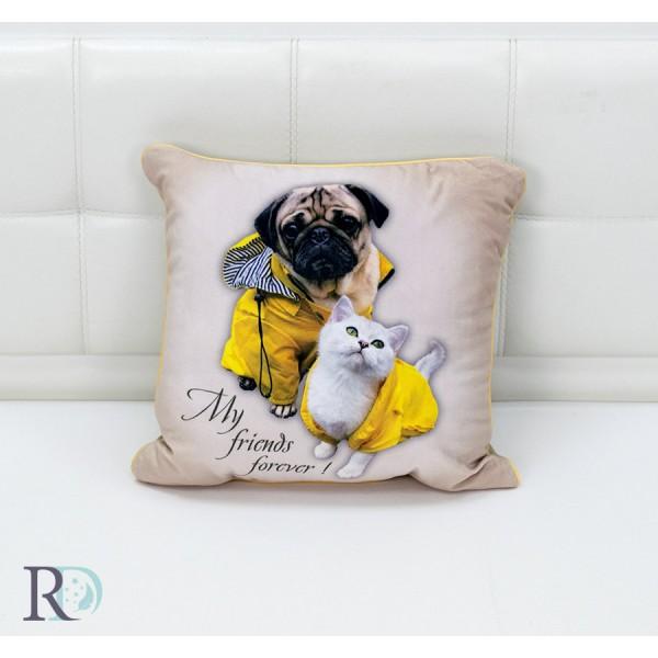 Декоративна възглавница Puppy and Kitty Жълто