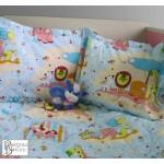 Бебешко спално бельо ZOO в синьо 100% памук