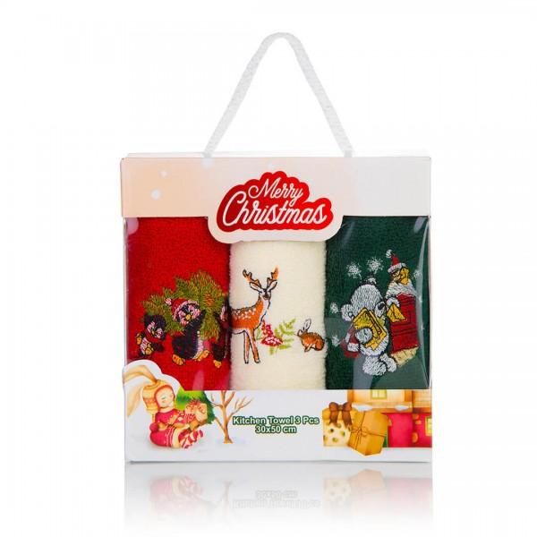 Коледни кърпи в пакет 3бр. Еленче