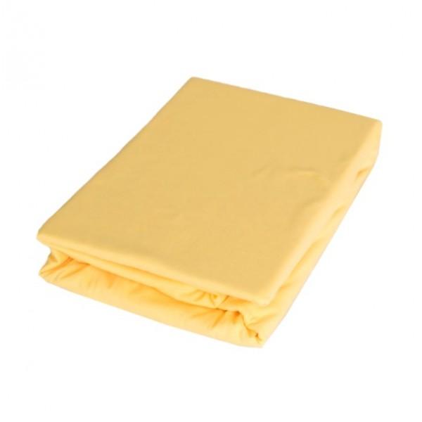 Памучен чаршаф с ластик Жълто